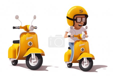 Illustration for Detailed icons representing yellow retro scooter and scooter driver in helmet - Royalty Free Image