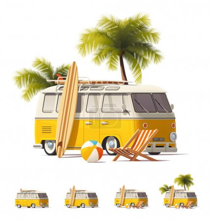 Photo for Detailed icons representing yellow vintage hippie or surfer van with surfboards and deck chair on the beach - Royalty Free Image