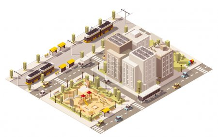 Vector isometric low poly commuter town infrastructure