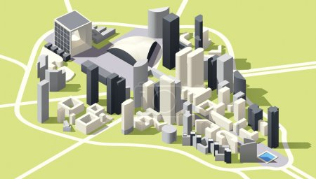 Illustration for Isometric low poly Map of La Defense business district in Paris, France - Royalty Free Image