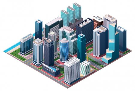 Photo for Isometric set of the office and residential buildings, road elements and plants - Royalty Free Image