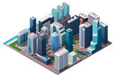 Isometric set of the office and residential buildings road elements and plants