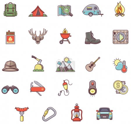 Illustration for Set of the Camping related icons - Royalty Free Image
