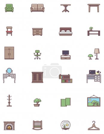 Illustration for Set of the Domestic furniture related iconst - Royalty Free Image