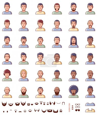 Illustration for Set of the different male faces - Royalty Free Image