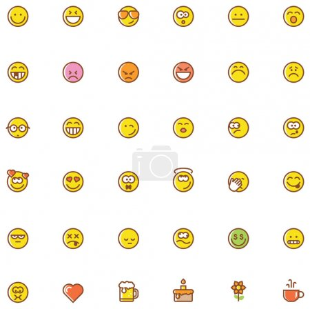 Illustration for Set of the simple emoticons - Royalty Free Image