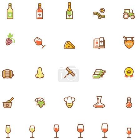Illustration pour Ensemble de l'icône liée au vin - image libre de droit