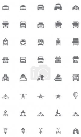 Photo pour Ensemble des icônes liées au transport - image libre de droit