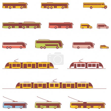 Illustration for Set of the different types of public transport vehicles - Royalty Free Image