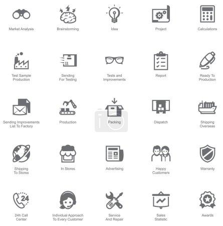 Illustration pour Ensemble des icônes montrant le chemin des marchandises de l'usine aux clients - image libre de droit