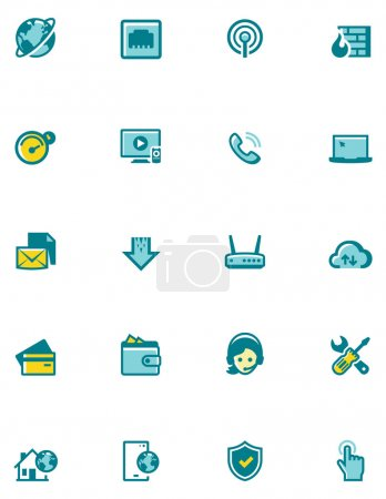 Vector internet service provider icon set