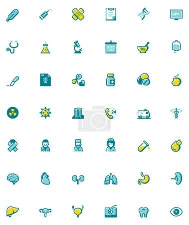 Illustration pour Ensemble des icônes liées aux soins de santé - image libre de droit