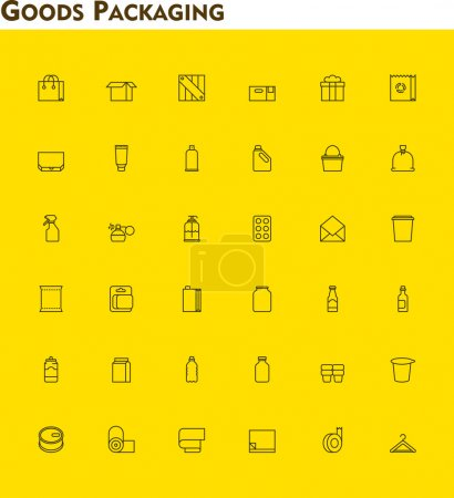 Linear packaging icon set