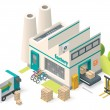 Vector isometric factory building icon...