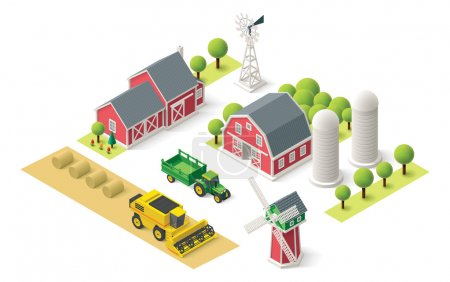 Illustration for Isometric icons representing farm setting - Royalty Free Image