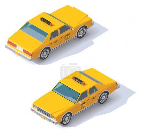 Illustration for Set of the isometric taxi cab with front and rear views - Royalty Free Image