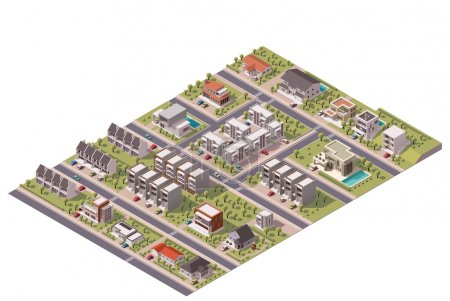 Illustration for Isometric map of the small town or suburb - Royalty Free Image