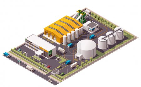 Photo for Isometric icon set representing garbage recycling plant - Royalty Free Image