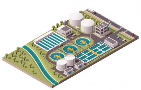 Illustration for Isometric icon set representing water treatment - Royalty Free Image