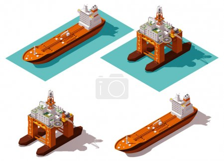 Vector isometric tanker and oil rig