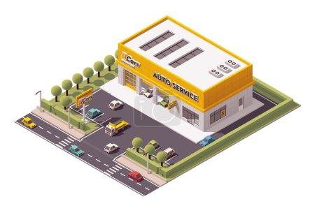 Illustration pour Icône de bâtiment de service de voiture isométrique vectoriel - image libre de droit