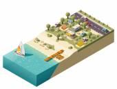 Vector isometric beach camping