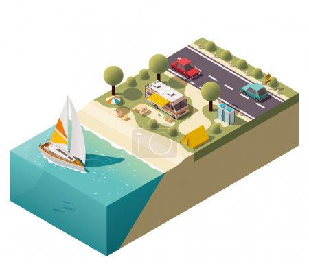 Illustration for Isometric campsite near the coast - Royalty Free Image