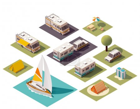 Isometric camping and travel equipment...