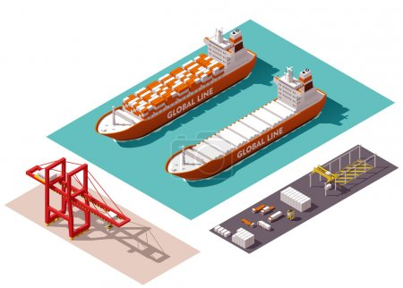 Illustration for Isometric cargo port machines and equipment - Royalty Free Image