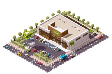 Illustration pour Bâtiment isométrique vectoriel d'épicerie - image libre de droit