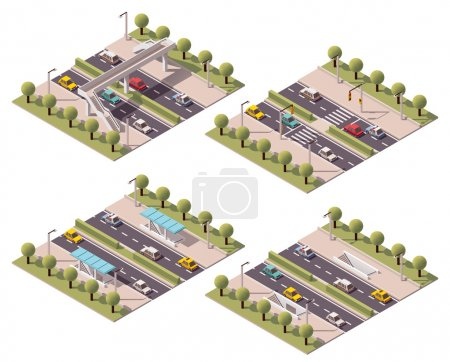 Illustration for Set of the isometric crosswalk types - Royalty Free Image