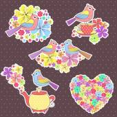 beautiful Stickers with birds and a cup of tea on a purple background with flowers