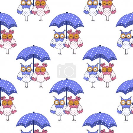 Illustration for Seamless pattern with owls in love and umbrella on white background - Royalty Free Image