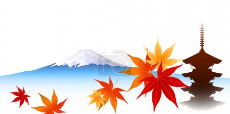 Autumn leaves maple Mount Fuji