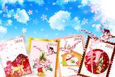 Monkey greeting cards background