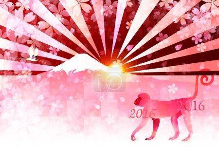 Monkey Fuji New Year's card