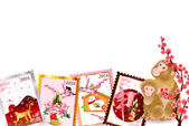 Monkey cherry plum greeting cards