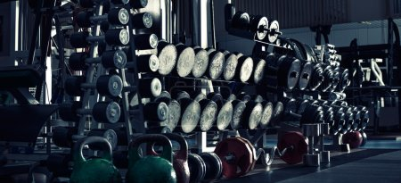 Photo for Gym indoor interior with dumbbells;  horizontal panorama photo, blue tone - Royalty Free Image