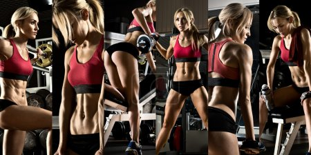 Photo for Bodybuilding,  execute exercise press with weight, in gym, collage of photo - Royalty Free Image