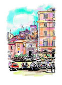 watercolor travel card from Rome Italy, old italian imperial bui