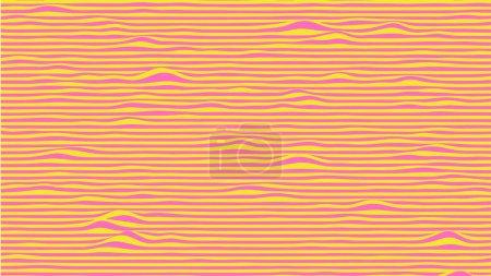 Illustration pour Fond d'ondes abstraites en couleurs rose et jaune. Surface rayée avec effet de distorsion ondulé. Illustration vectorielle. - image libre de droit