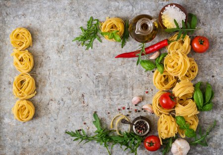 Pasta Tagliatelle nests and ingredients