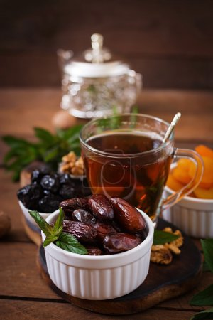 Dried fruits and traditional Arabic tea