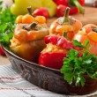 Stuffed peppers minced chicken with carrots with t...