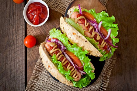 Hot dogs with sausages and vegetables