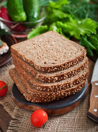 Wholegrain rye bread with bran and seeds
