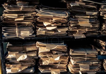 Photo for Paper documents stacked in archive - Royalty Free Image