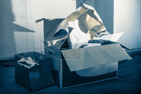 Photo for Messy place with boxes on the floor - Royalty Free Image
