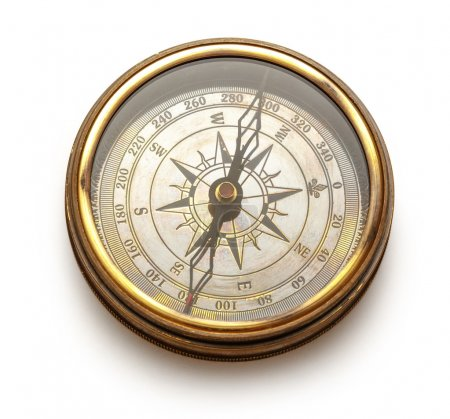 View of vintage compass