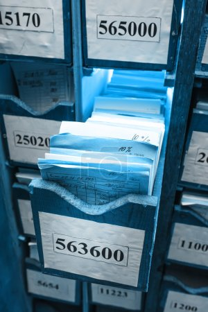 Photo for Drawer with business papers organized in archive - Royalty Free Image